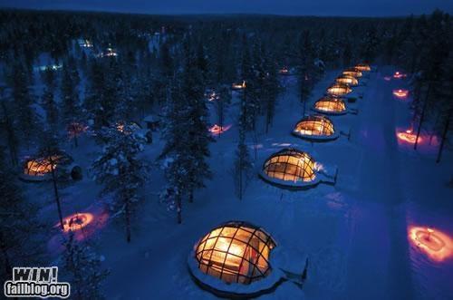 cold design glass hotel igloo night snow - 5220122624