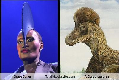 actresses,classics,corythosaurus,dinosaurs,grace jones,hat,singers