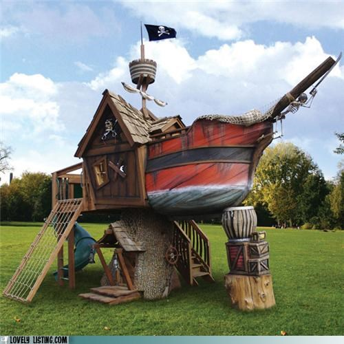 pirate ship,playhouse,yard
