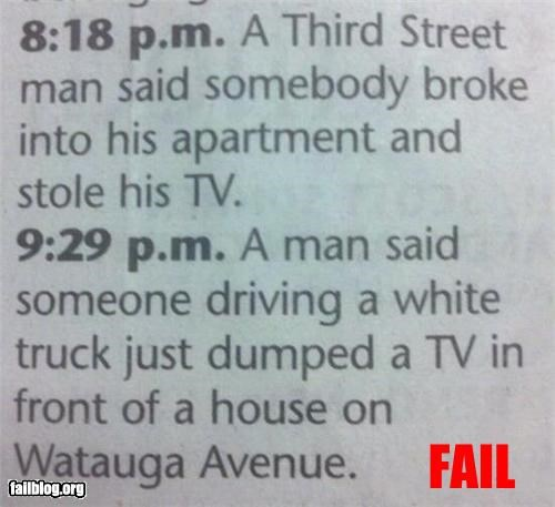 TV Theft FAIL Local Newspaper, 3rd st and Watauga Ave are 1 block away from each other. Even if you don't know where those streets are, this is hilarious!