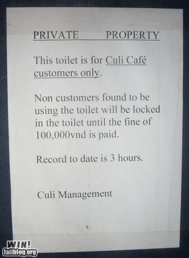 bathroom,business,cafe,clever,sign,store,warning