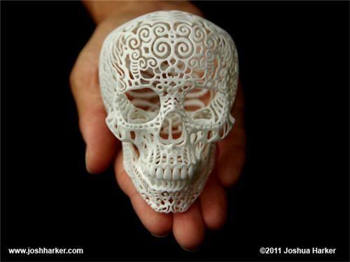 3D printing,art,crania anatomica filigre,joshua harker,kickass kickstarter,skulls,vids