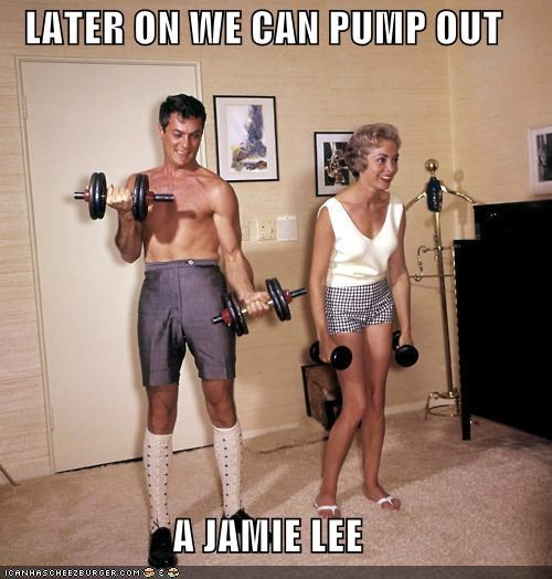 fitness,historic lols,jamie lee curtis,janet lee,lifting weights,tony curtis,vintage,weight lifting