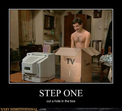 cut a hole in the box,mr-bean,Pure Awesome,step one