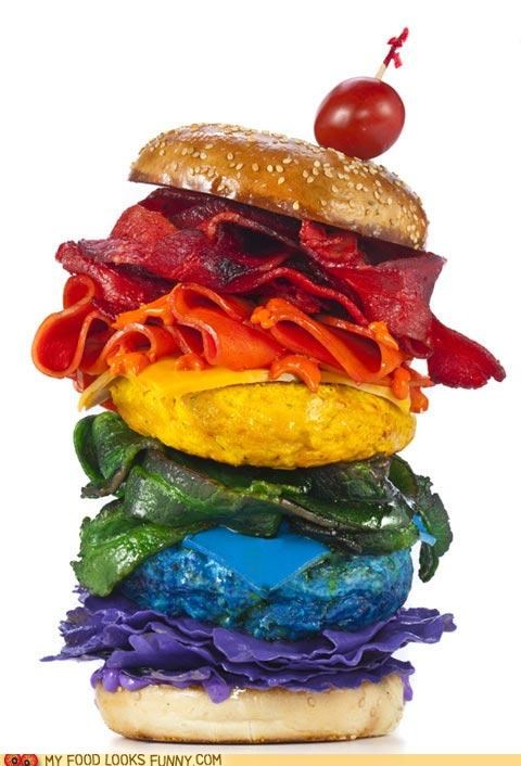 bacon,buns,burger,cheese,dye,huge,layers,rainbow