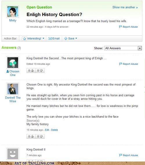 dontrell english history Yahoo Answer Fails - 5221608960