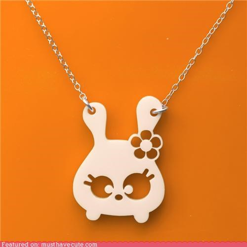 accessories,acrilyc,bunny,chain,Jewelry,laser cut,necklace,pendant