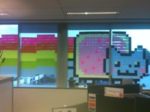 Nyan Cat Post-It Mural