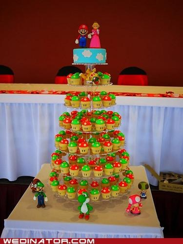 cupcakes,funny wedding photos,geek,Hall of Fame,mario,wedding cake