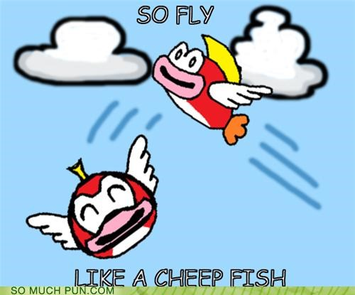 cheep cheep,double meaning,far east movement,fly,flying,like a g6,similar sounding,so,song,Super Mario bros