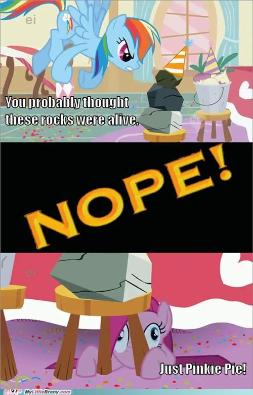Chuck Testa meme nope pinkamena diane pie pinkie pie rocks - 5223277056