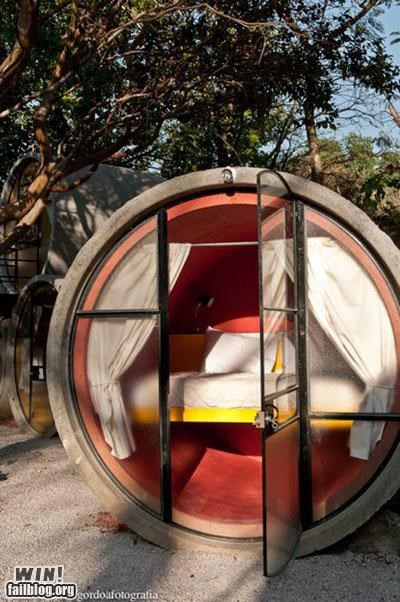 bed design hotel modification repurposed room tube