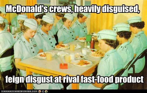 McDonald's crews, heavily disguised, feign disgust at rival fast-food product