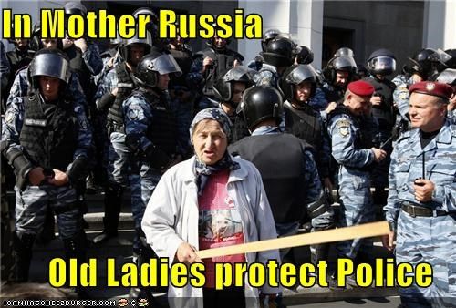mother russia,not what you expected,old woman,police,protection,Pundit Kitchen,russia,russian