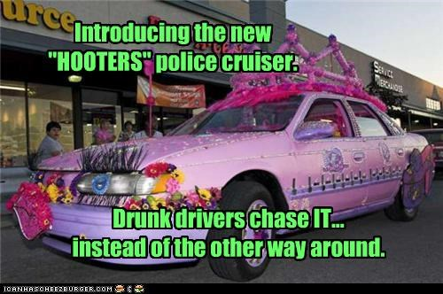 alcohol cars drunk driving gaudy hooters pink police solutions - 5224659456