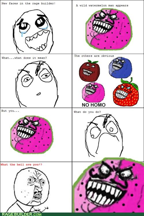 fruit men Rage Comics strawberry guy watermelon man - 5226048256