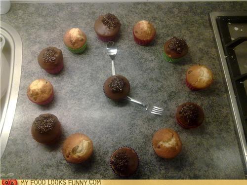 clock,muffins,silverware