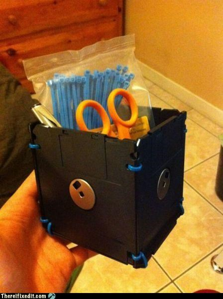 floppy disk,not a kludge,office supplies,zip ties