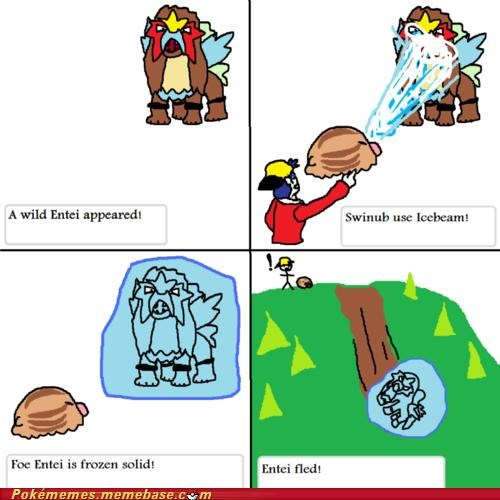 best of week,comic,entei,frozen,i wanna catch you,icebeam