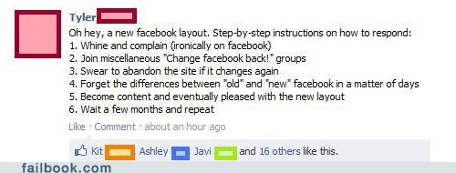 changes,facebook,layout,new,sarcasm