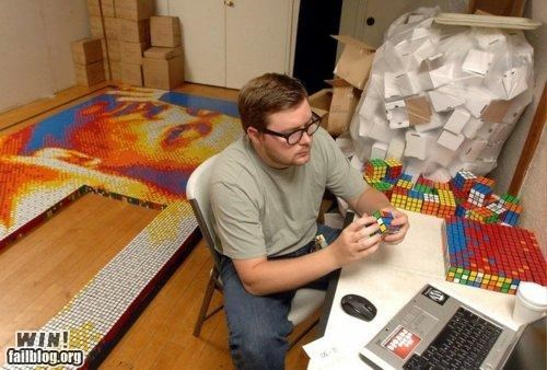 art,cube,design,pixel,portrait,rubiks cube,time consuming