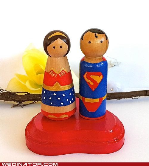 cake toppers,comics,funny wedding photos,geek,superman,wonder woman