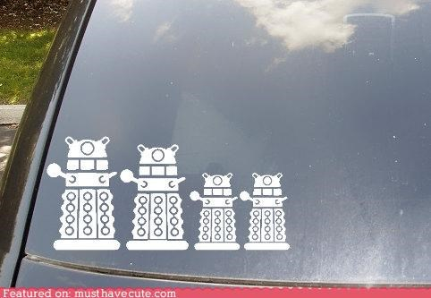 car,daleks,decals,doctor who,family,stickers