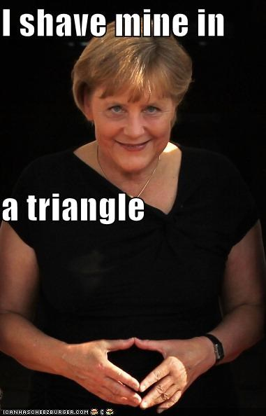 angela merkel,chancellor,class act,classy,Germany,political,politician,pubic hair,Pundit Kitchen,shave,triangle