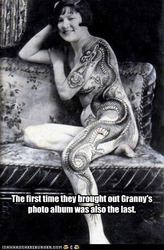 creepy funny historic lols lady Photo tatoo - 5227333632