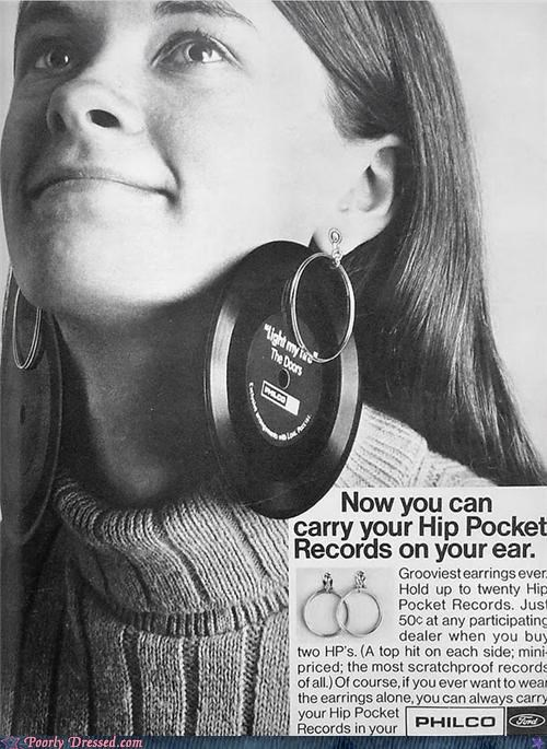 Ad,earrings,Music,record,vintage,vinyl