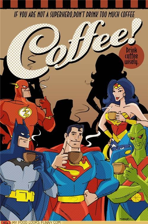 caffeine,coffee,poster,superheroes