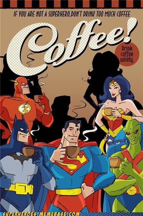 Awesome Art batman coffee flash martian manhunter superheroes superman wonder woman - 5227712512
