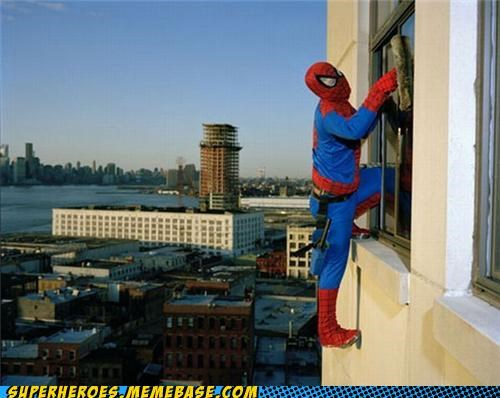 costume job Spider-Man Superhero IRL window washer - 5227734272