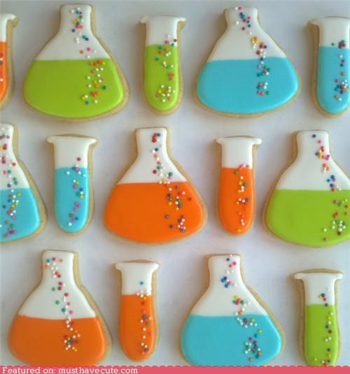 beakers,cookies,epicute,icing,science,sprinkles,test tubes