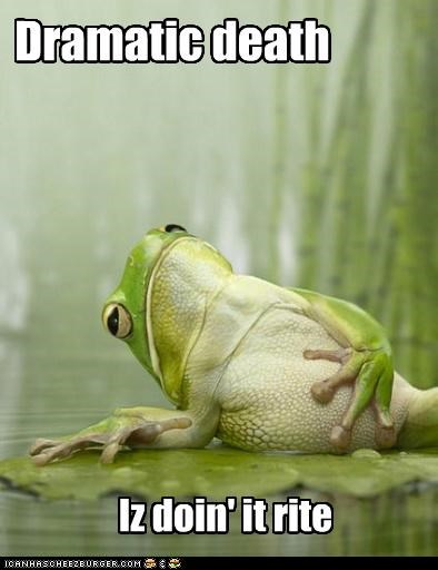 amphibians animals Death dramatic frogs I Can Has Cheezburger lily pads tummy - 5228981760