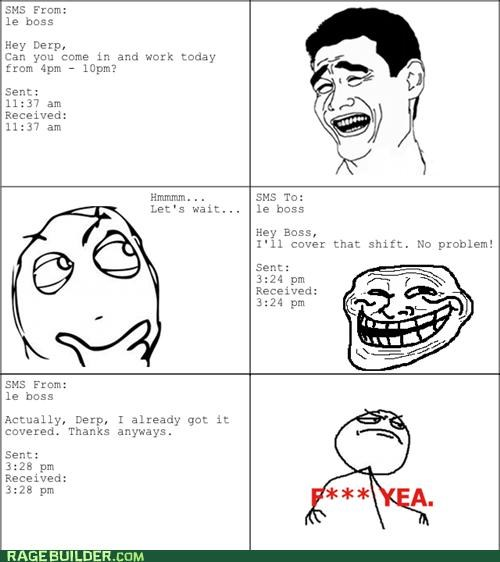 boss,Rage Comics,timing,troll,work