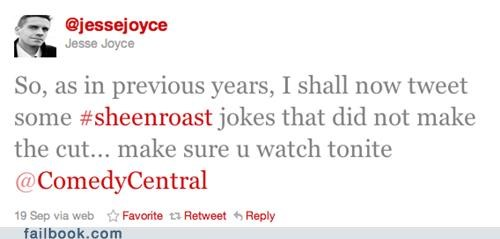 Charlie Sheen comedy central cut jesse joyce jokes mike tyson roast Ryan Dunn steve o William Shatner