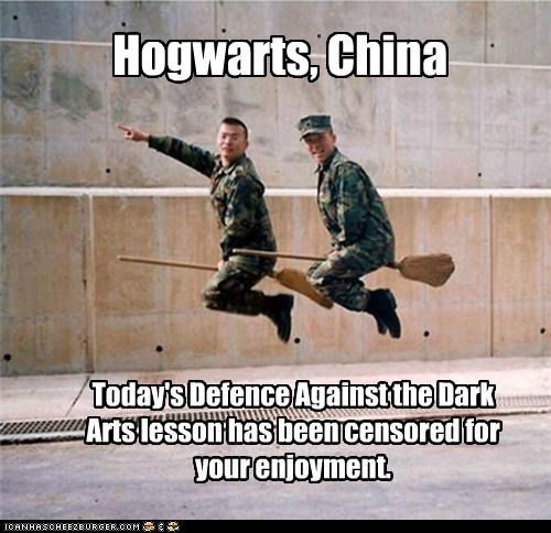 Hogwarts, China Today's Defence Against the Dark Arts lesson has been censored for your enjoyment.