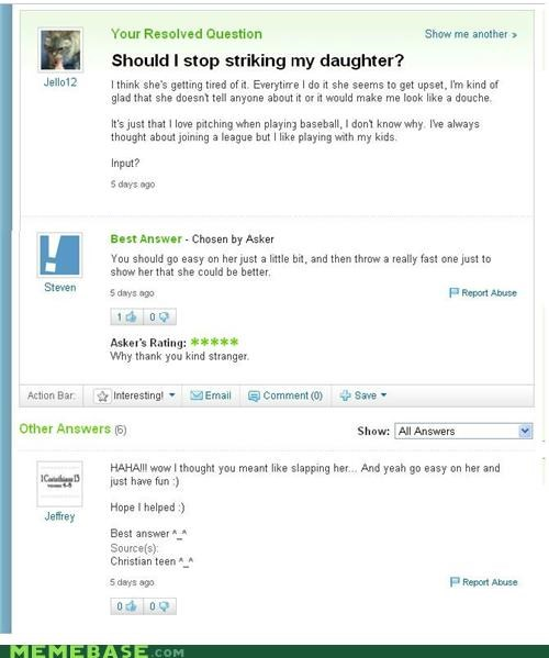 bait and switch baseball daughter Yahoo Answer Fails - 5230905088