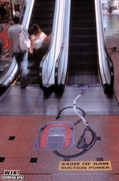 escalator,hacked irl,mall,shopping,Street Art,suction,temporarily stairs,vacuum