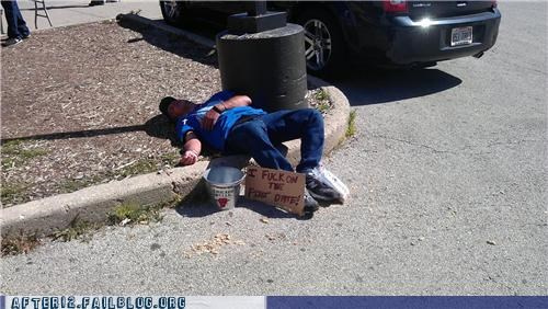 bucket,curb,drunk,passed out,roofie,trash can