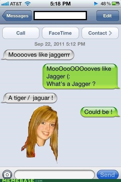 jagger jaguar lyrics Musically Oblivious 8th Grader text tiger - 5231175168