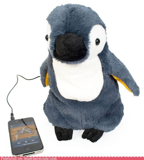 electronics,fuzzy,iphone,ipod,penguin,Plush,speaker