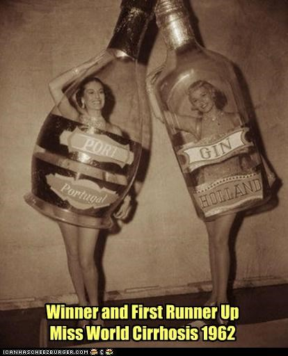 alcohol,bottles,cirrhosis,contests,costume,drinking,historic lols,miss world,winners