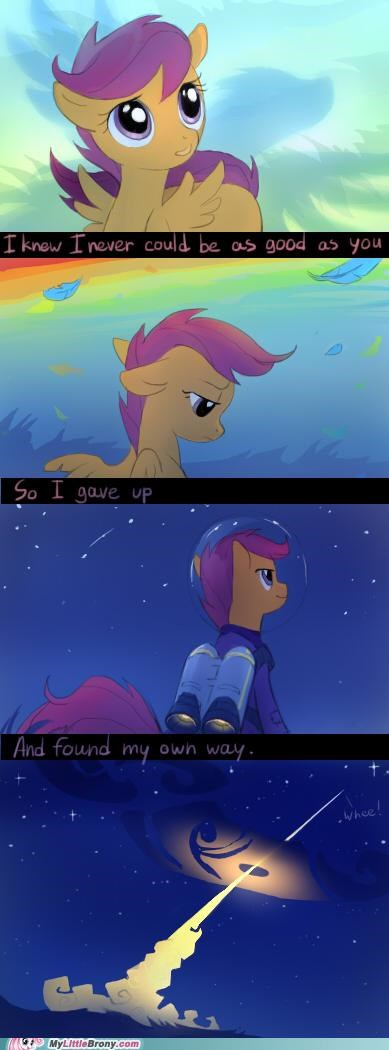 comics idol rainbow dash Scootaloo to the mooooon wheee - 5232863488