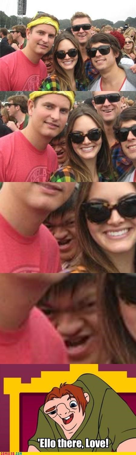 hunchback,notre dame,photobomb,ruined photo,Tenso