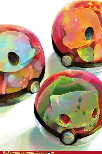 art bulbasaur charmander Pokeballs Pokémon squirtle starters - 5233413888