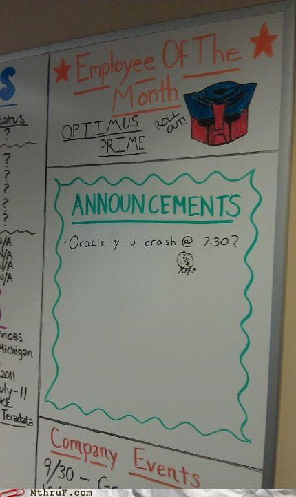 employee of the month,optimus prime,roll out,transformers,whiteboard