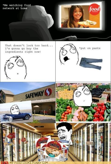 comic,cooking,instant pizza,rage comic,shopping,TV