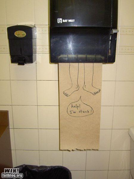 bathroom doodle hacked irl help paper towels public restroom stuck - 5233634048